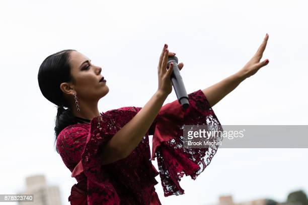 George Maple performs at the Swarovski Rainbow Paradise Spring Summer 18 Collection Launch on November 24 2017 in Sydney Australia