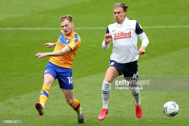 George Maris of Mansfield Town on the ball with Brad Potts of Preston North End during the Carabao Cup First Round match between Preston North End...