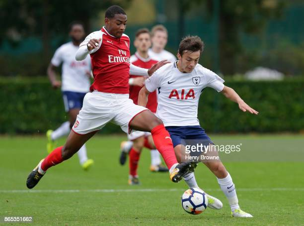 George Marsh of Tottenham Hotspur and Zech Medley of Arsenal during the Premier League 2 game between Tottenham Hotspur and Arsenal on October 23...
