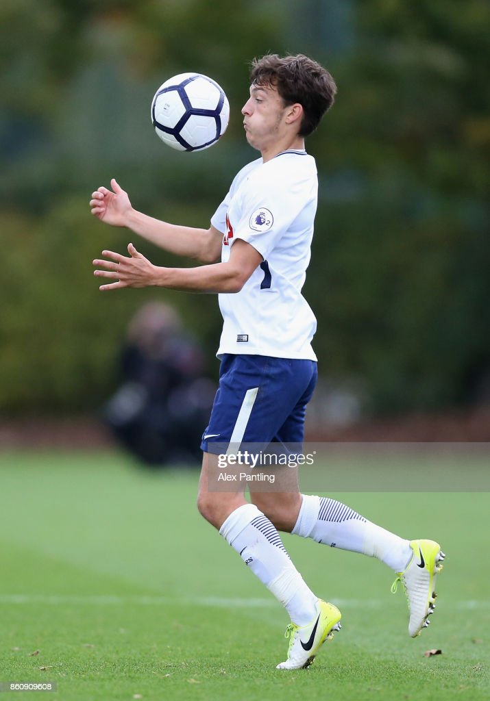 George Marsh of Tottenham Hotspur controlls the ball during the Premier League 2 match between Tottenham Hotspur and Leicester City at Enfield Training Centre on October 13, 2017 in Enfield, England.