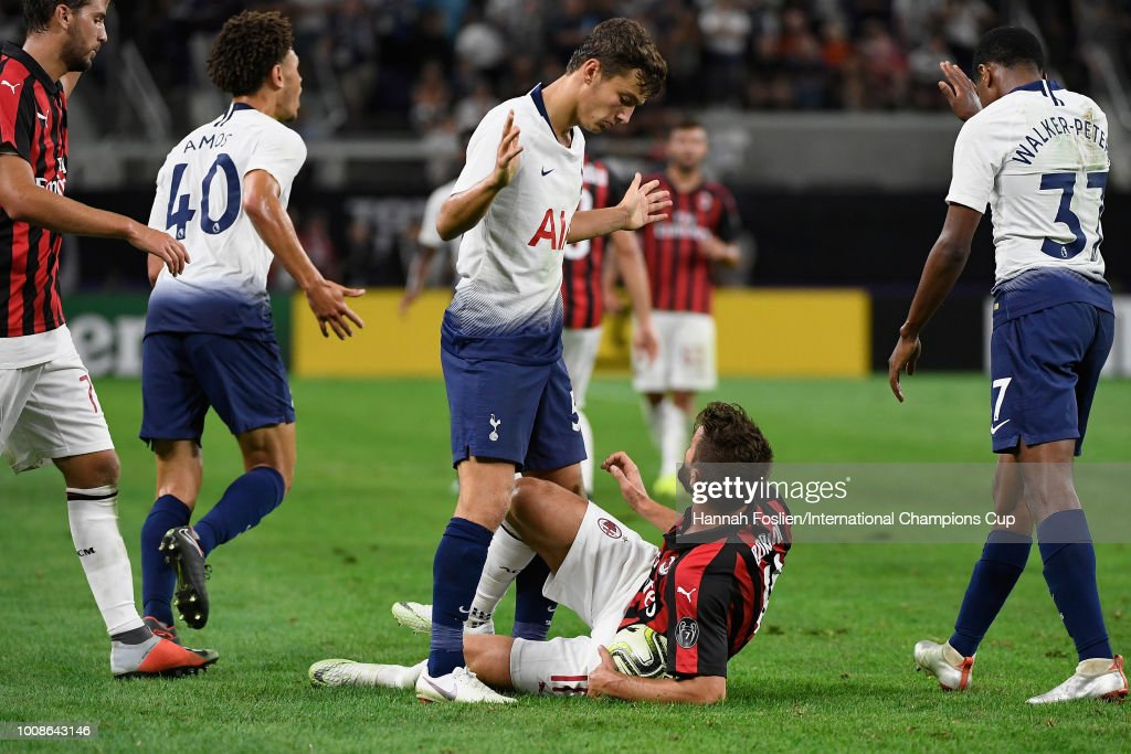 George Marsh #53 of Tottenham Hotspur stands over Fabio Borini #11 of AC Milan in the second half during the International Champions Cup 2018 at U.S. Bank Stadium on July 31, 2018 in Minneapolis, Minnesota.
