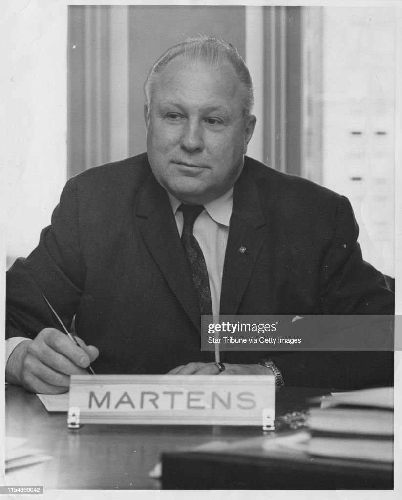 George Martens, former Minneapolis city council member in the 1950s and 1960s, and city council president for several years. Obituary ran Thurs Jan 16, 2003, Star Tribune, page B8. 1961 Minneapolis Tribune (now Star Tribune) photo by Dwight Miller. : News Photo