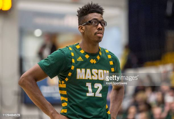 George Mason Patriots forward AJ Wilson at the free throw line during an Atlantic 10 men's basketball game between the George Washington Colonials...