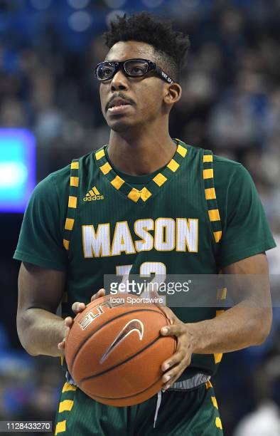 George Mason Patriots forward AJ Wilson gets ready to shoot a free throw during an Atlantic 10 Conference basketball game between the George Mason...