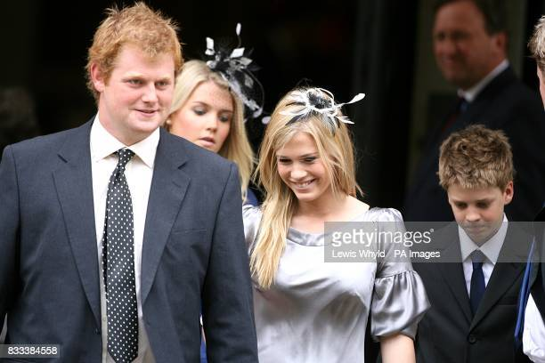 George McCorquodaleKitty Spencer Viscount Althorp Lady Amelia Spencer Lady Eliza Victoria Spencer and George Rupert Freud at the Service of...