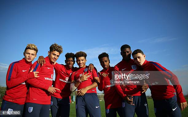 George McEachran Joel Latibeaudiere Jonathan Panzo Jadon Sancho Angel Gomes Timothy Eyoma and Phil Foden pose during the U17 England Training Session...
