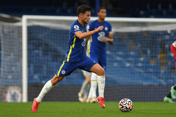 George McEachran of Chelsea during the Premier League 2 match between Chelsea and Manchester United at Stamford Bridge on August 20, 2021 in London,...