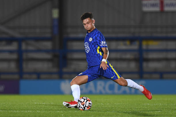 George McEachran of Chelsea during the Premier League 2 match between Chelsea and Liverpool on September 24, 2021 in Kingston upon Thames, England.