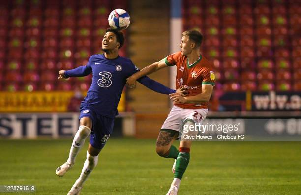 George McEachran of Chelsea goes head to head with George Nurse of Walsall during the Chelsea Development Squad v Walsall EFL Trophy match at Bank's...