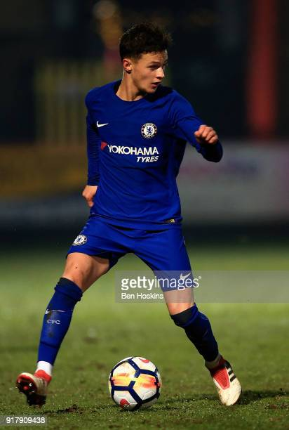 George McEachran of Chelsea in action during the FA Youth Cup match between Tottenham Hotspur and Chelsea at The Lamex Stadium on February 13 2018 in...