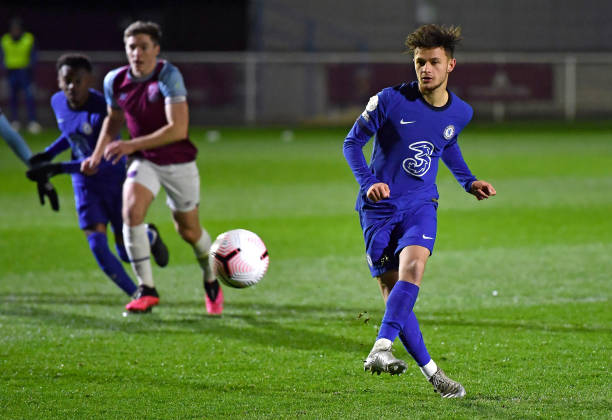 George McEachran of Chelsea scores from the penalty spot during the West Ham United v Chelsea - Premier League 2 match at Rush Green on April 6, 2021...