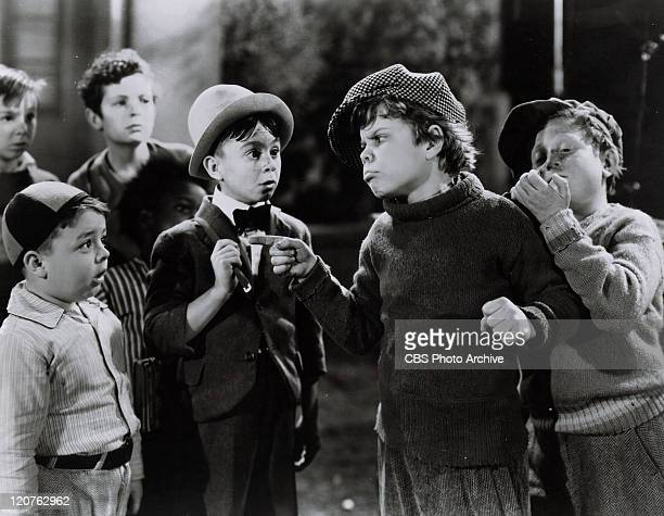 George McFarland as Spanky Carl Switzer as Alfalfa Tommy Bond as Butch and Sidney Kibrick as The Worm in 'Glove Taps' on of the Our Gang series later...