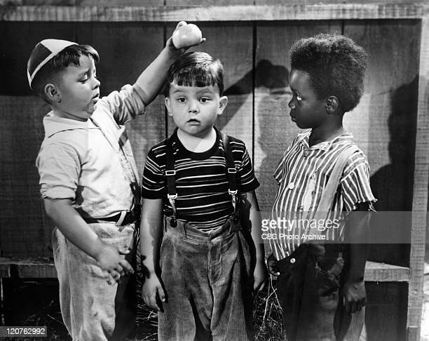 George McFarland as Spanky Eugene Lee as Porky and Billie Thomas as Buckwheat in an Our Gang comedy later known as The Little Rascals Image dated 1938