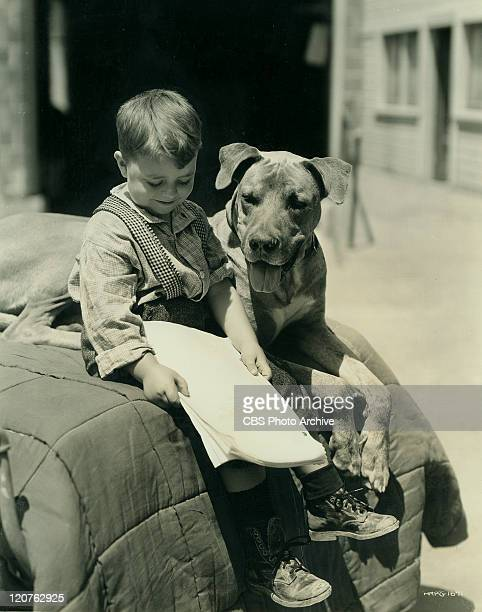 George McFarland as Spanky with dog Von in 'General Spanky' part of the Our Gang series later to be know as The Little Rascals Image dated September...