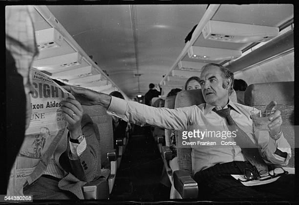 George McGovern on his campaign plane during the 1972 Presidential primary
