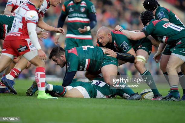 George McGugan and Dan Tuohy of Leicester Tigers protect the ball during the AngloWelsh Cup tie between Leicester Tigers and Gloucester Rugby at...