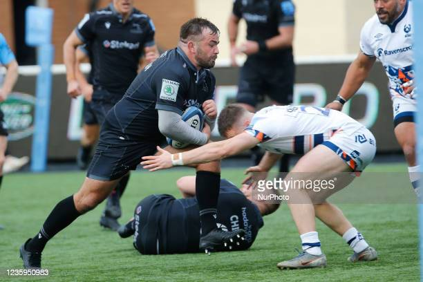 George McGuigan of Newcastle Falcons attacks the line during the Gallagher Premiership match between Newcastle Falcons and Bristol at Kingston Park,...