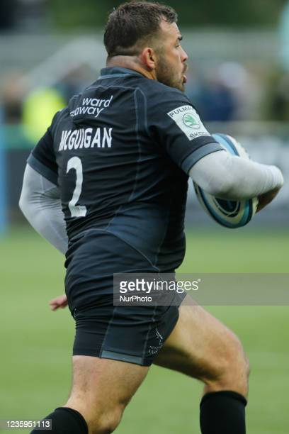 George McGuigan of Newcastle Falcons on the rampage during the Gallagher Premiership match between Newcastle Falcons and Bristol at Kingston Park,...