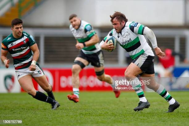 George McGuigan of Newcastle Falcons runs with the ball during the Gallagher Premiership Rugby match between Leicester Tigers and Newcastle Falcons...