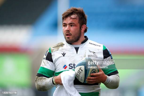 George McGuigan of Newcastle Falcons wipes the ball during the Gallagher Premiership Rugby match between Leicester Tigers and Newcastle Falcons at...