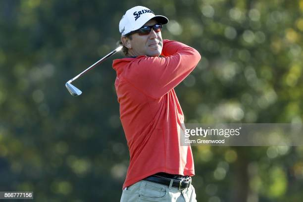 George McNeill plays his shot from the seventh tee during the First Round of the Sanderson Farms Championship at the Country Club of Jackson on...