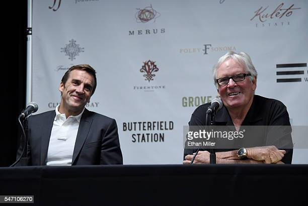 George McPhee and majority owner of the Las Vegas NHL franchise Bill Foley take questions from members of the media after Foley announced McPhee as...
