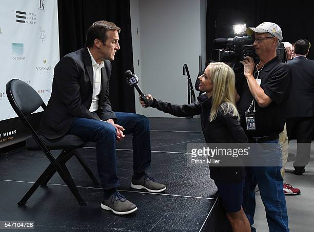 George McPhee is interviewed after being introduced as the general manager of the Las Vegas NHL franchise during a news conference at TMobile Arena...