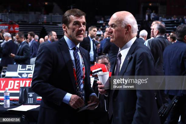 George McPhee of the Vegas Golden Knights and Lou Lamoriello of the Toronto Maple Leafs talk prior to the 2017 NHL Draft at the United Center on June...