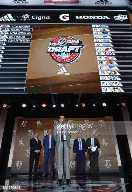 George McPhee of the Las Vegas Golden Knights attends the 2017 NHL Draft at the United Center on June 23 2017 in Chicago Illinois