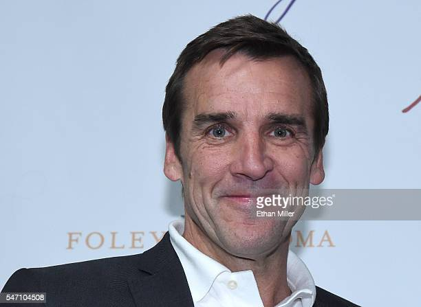 George McPhee poses after being introduced as the general manager of the Las Vegas NHL franchise during a news conference at TMobile Arena on July 13...