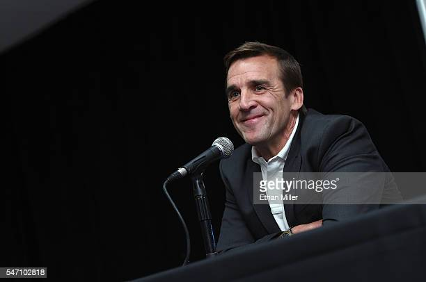 George McPhee speaks after being introduced as the general manager of the Las Vegas NHL franchise during a news conference at TMobile Arena on July...