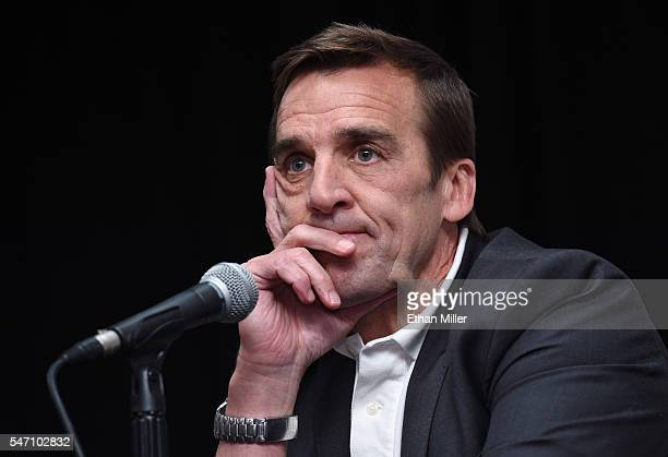 George McPhee takes questions from members of the media after being introduced as the general manager of the Las Vegas NHL franchise during a news...
