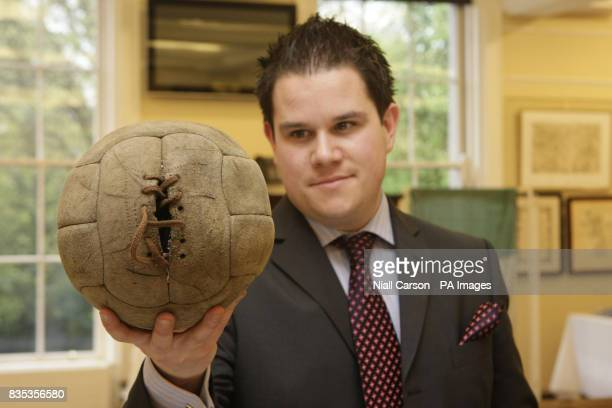 George Mealy holds the ball used on the day of the1920 Bloody Sunday Match Gaelic football match held at Croke Park during a preview of lots for...