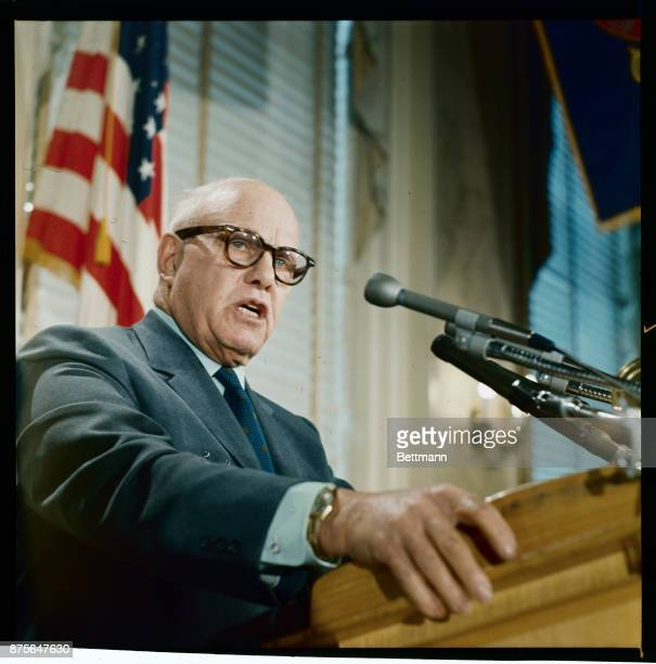 George Meany president of the AFLCIO speaks at National Press Club here January 10th