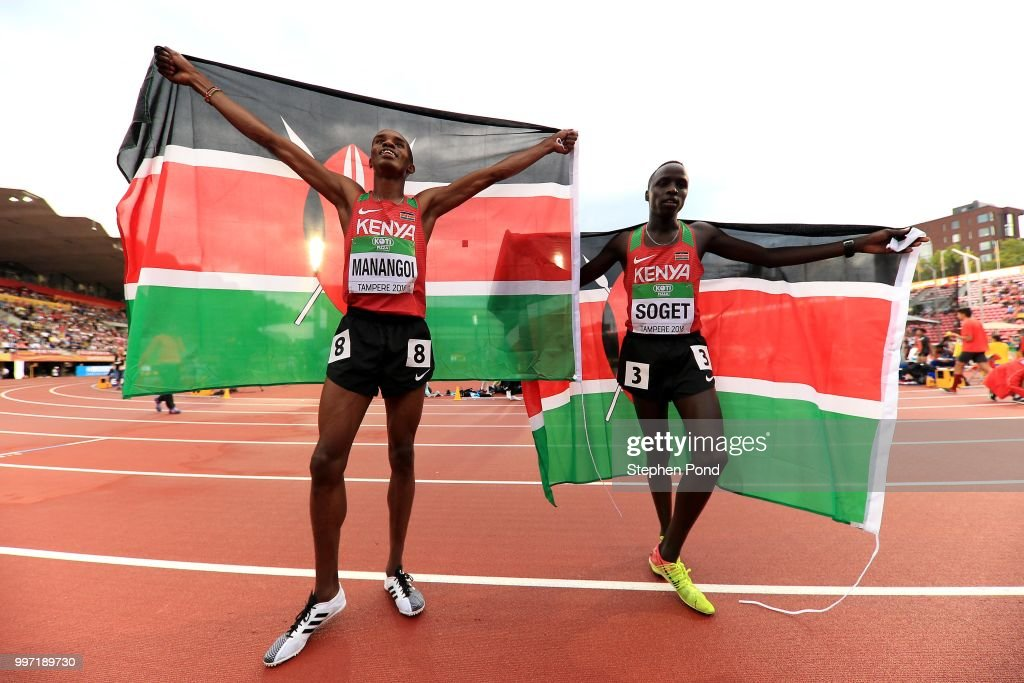 George Meitamei Manangoi and Justus Soget of Kenya celebrate after winning medals in the final of the men's 1500m on day three of The IAAF World U20 Championships on July 12, 2018 in Tampere, Finland.