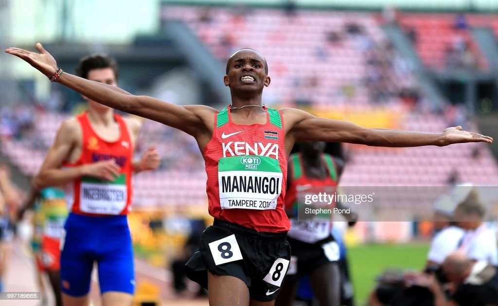 George Meitamei Manangoi of Kenya celebrates as he crosses the line to win gold in the final of the men's 1500m on day three of The IAAF World U20 Championships on July 12, 2018 in Tampere, Finland.