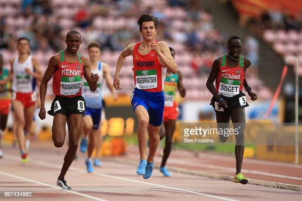 George Meitamei Manangoi of Kenya celebrates as he crosses the line to win gold in the final of the men's 1500m on day three of The IAAF World U20...