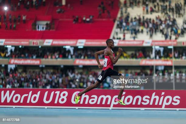 George Meitamei Manangoi of Kenya competes in the boys 1500m during day 3 of the IAAF U18 World Championships at Moi International Sports Centre...