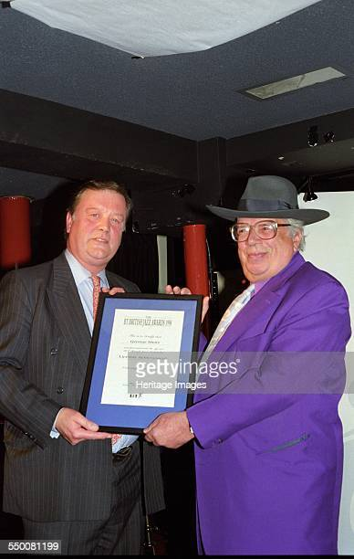George Melly English jazz and blues singer critic writer and lecturer with British Conservative politician Kenneth Clarke Pizza Express Soho London...