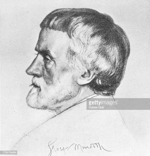 George Meredith 1828-1909 - English novelist and poet. Chalk drawing by William Strang.