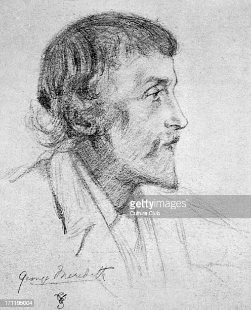George Meredith - English novelist and poet: 12 February 1828 – 18 May 1909. Original signed pencil sketch by Violet, Duchess of Rutland: 7 March...