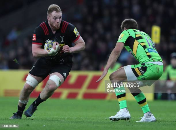 George Merrick of Harlequins charges upfield during the Aviva Premiership Big Game 10 match between Harlequins and Northampton Saints at Twickenham...
