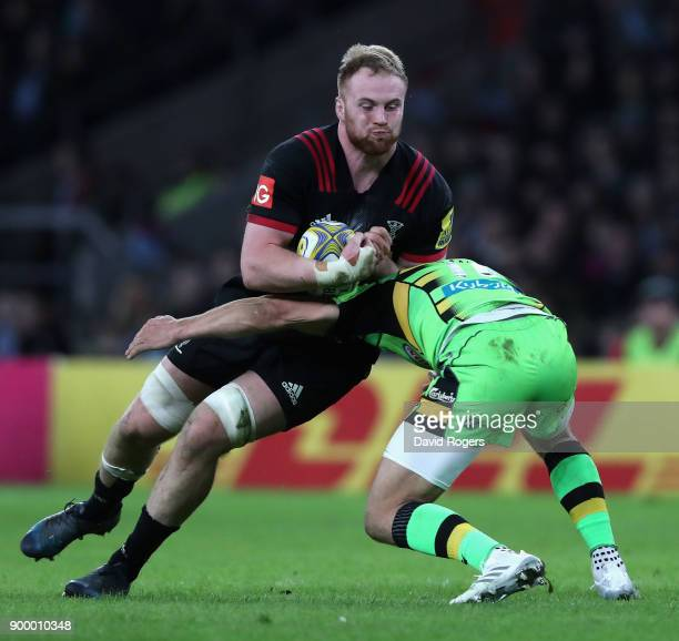 George Merrick of Harlequins is tackled during the Aviva Premiership Big Game 10 match between Harlequins and Northampton Saints at Twickenham...