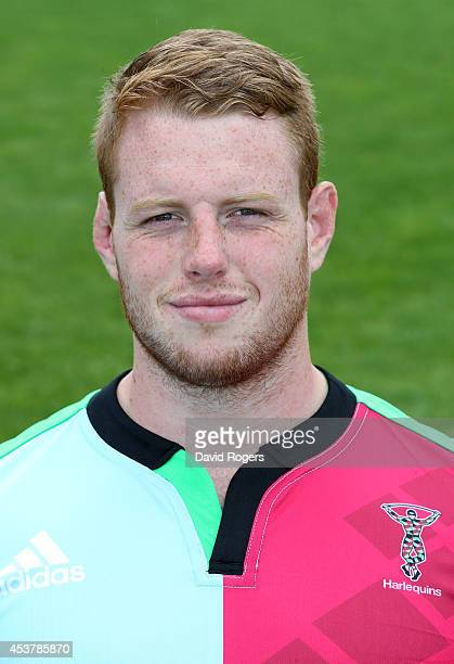 George Merrick of Harlequins poses for a portrait at the photocall held at the Surrey Sports Centre on August 18 2014 in Guildford England