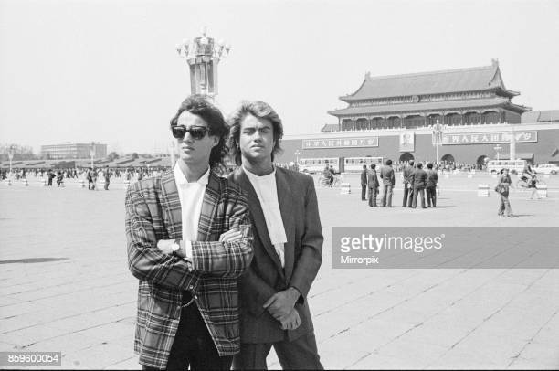 George Michael and Andrew Ridgeley from Wham in China 1985 They are pictured in front of The Forbidden Palace in Tiananmen Square Peking Wham were on...