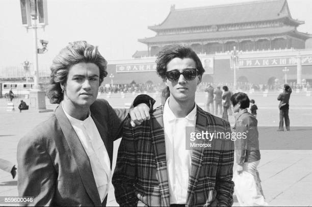 George Michael and Andrew Ridgeley from Wham in China 1985 Wham were on a 10 day tour They are pictured in front of The Forbidden Palace in Tiananmen...