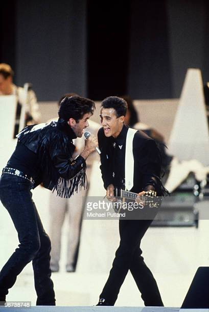 George Michael and Andrew Ridgeley of pop duo WHAM performing their farewell concert at Wembley Stadium London 28th June 1986