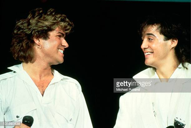 George Michael and Andrew Ridgeley of Wham perform on stage at Sydney Entertainment Centre Sydney Australia 27th January 1985