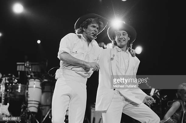 George Michael and Andrew Ridgeley of Wham performing at Sydney Entertainment Centre Sydney during the pop duo's 1985 world tour Australia 27th...