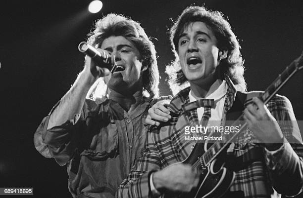 George Michael and Andrew Ridgeley of Wham performing during the pop duo's 1985 world tour January 1985 'The Big Tour' took in the UK Japan Australia...